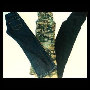 LOT 3 Pairs Of Pants Size 7 Camo Black Dark Denim